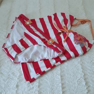 Aqua Tankini Mint Hot Pink and White Stripe